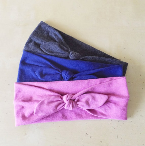 Headband Gift set, 3 Cotton headbands, hair accessories, retro bow style headband, yoga headbands, Adult Size, choose your colors