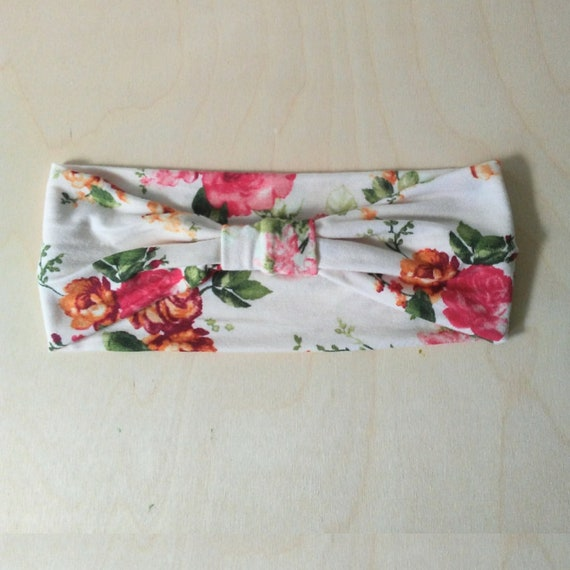 Red Rose Headband Floral print Yoga Headband boho women's hair accessory headwrap workout headband jogging accessory gift for her