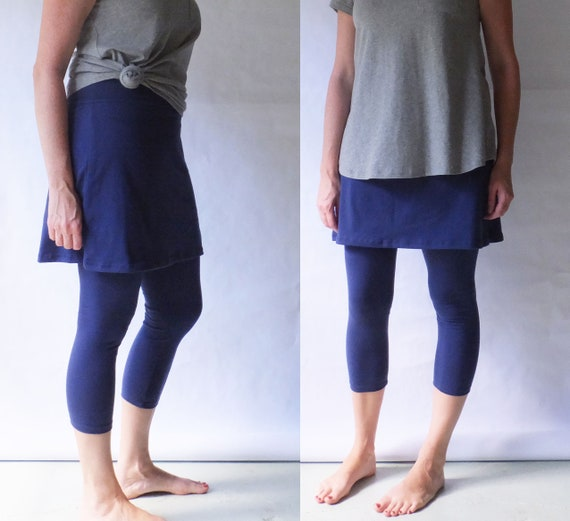 Womens Cropped Skirted Leggings Yoga skirt pants Stretch Cotton Jersey high waist tights legging with skirt other colors womens clothing