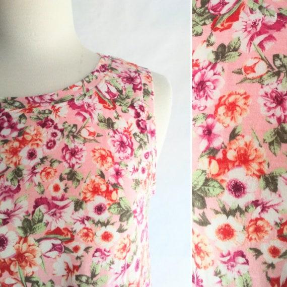 MEDIUM Pink Floral print Women's Floral Swing Tank Top plum flower print botanical sleeveless jersey knit summer top - ready to ship