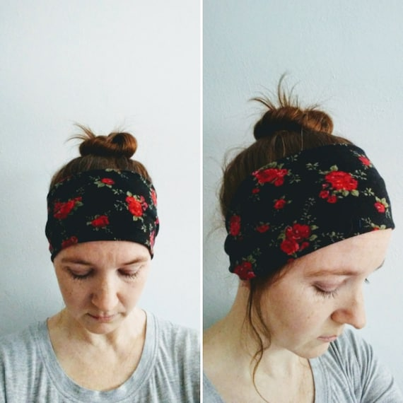 Black Rose Print Headband, Adult Size headband, Red floral headband, Yoga band, Cotton knit hair accessory, Women's headband, gift for her