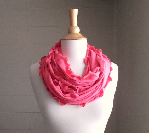 Coral Infinity Scarf Scarf cotton scarf jersey scarf circle scarf salmon ruffle scarf winter accessories gift for her - Ready to Ship