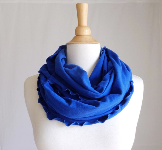 Ruffle Infinity Scarf Royal blue circle scarf cowl scarf cotton jersey women scarves primary blue scarf fashion accessory primary blue
