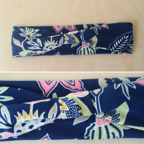 Navy and pink Floral Print Headband Yoga Headband women's hair accessory headwrap workout headband jogging accessory gift for her