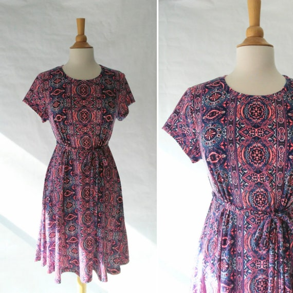 Size Large Navy and Pink paisley print Swing Dress sleeveless tank dress modest shift dress summer knee length loose fit and flare dress