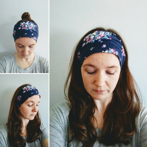 Headband Floral Print, Navy blue Yoga Headband, Flower bouquet Print headband, Adult headband, Cotton knit hair accessory, gift for her