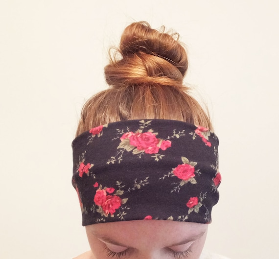 Black Rose Print Headband Red olive floral Yoga boho Cotton women's hair accessory headwrap workout headband jogging accessory gift for her