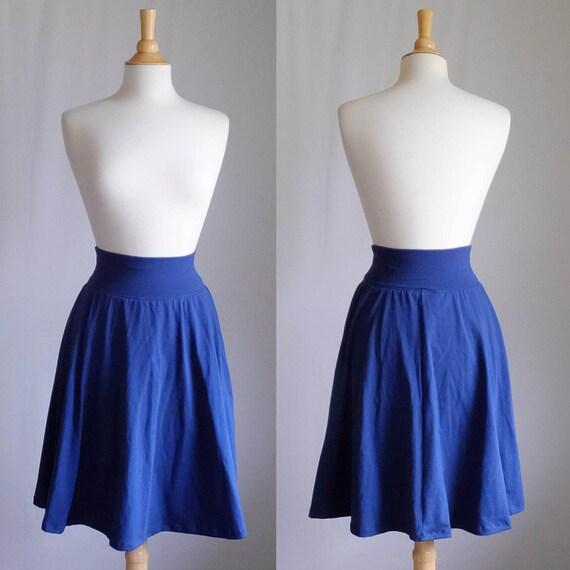 Navy Market Skirt Full Aline Semi Circle Skirt Womens stretch Cotton Jersey Swing Skirt knee length twirl skirt custom - made to order