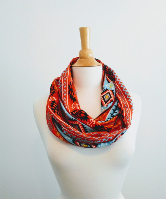 Infinity scarf orange blue print infinity scarf blue cotton scarf geometric shapes cotton jersey gift for her mothers day spring scarf