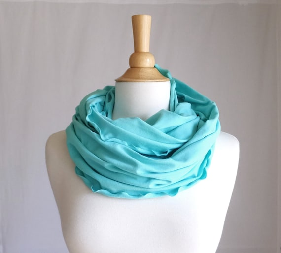 Ruffle Infinity Scarf Aqua blue green mint circle scarf Seafoam cowl scarf cotton jersey women scarves turquoise scarf fashion accessory