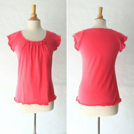 Size SMALL Coral pink Womens Cap Sleeve Tshirt - Little Bits Tee - short sleeve blouse, embellished t-shirt, scoop neck top - Ready to Ship