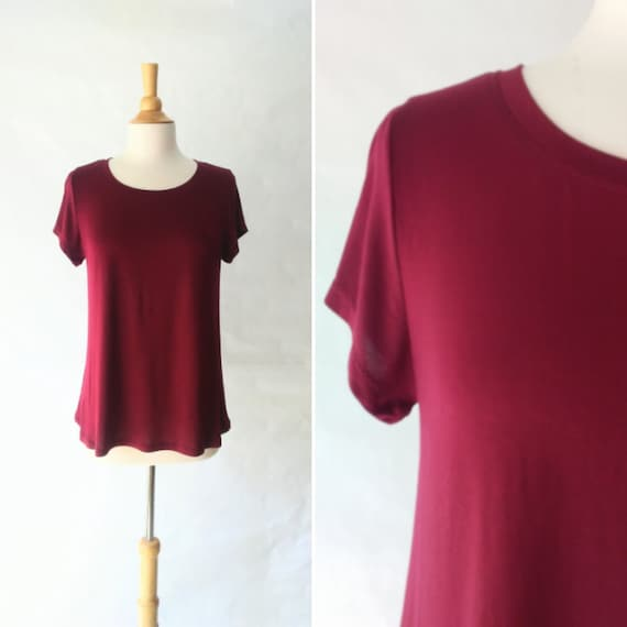 Size LARGE Women's Burgundy swing top wine red short sleeve blouse loose fit Rayon jersey shirt womens summer top