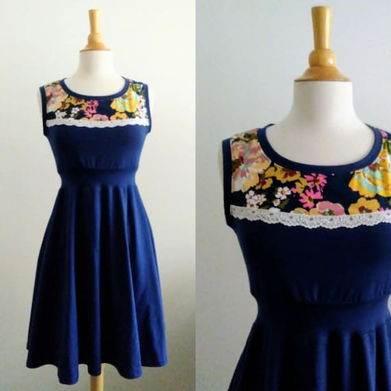 Navy Dress Floral Yoke with Lace trim blue dress stretch Cotton sleeveless Full swing skirt  holiday party dress women's - Made to Order