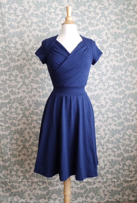 Womens Dress Sweetheart Crossover stretch Cotton Short Sleeve Full swing skirt ruched nursing top holiday party bridesmaid Made to Order