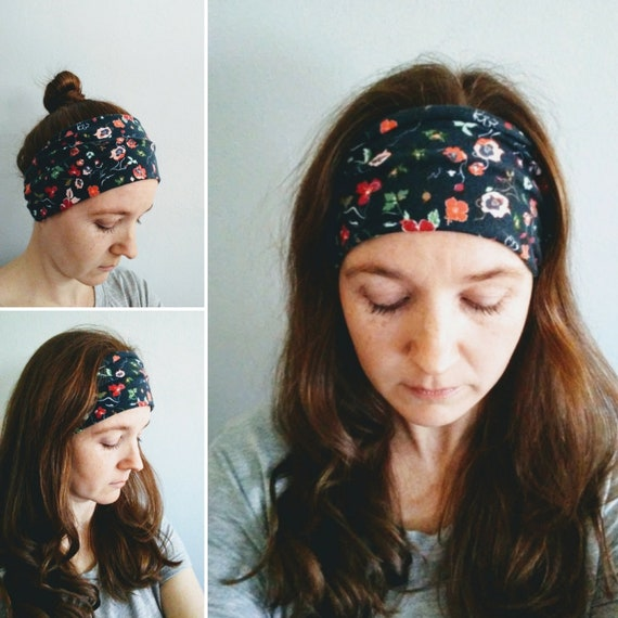 Headband Floral Print, Navy blue Yoga Headband, Flower Print headband, Adult headband, Cotton knit hair accessory, gift for her
