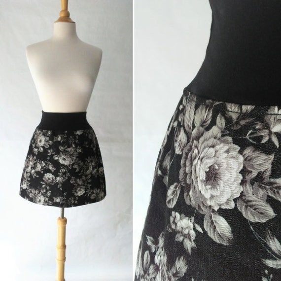 Size MEDIUM Black mini skirt Charcoal Floral print Aline Skirt women's denim skirt yoga waistband Pull on style Skirt Ready to ship