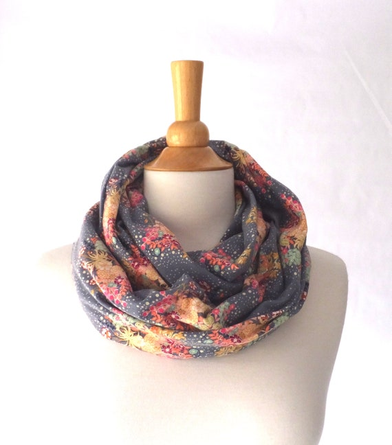 Floral Infinity Scarf, pink flower print scarf, gold floral scarf, gift for her, flower print scarf, grey blue scarf, cotton scarf