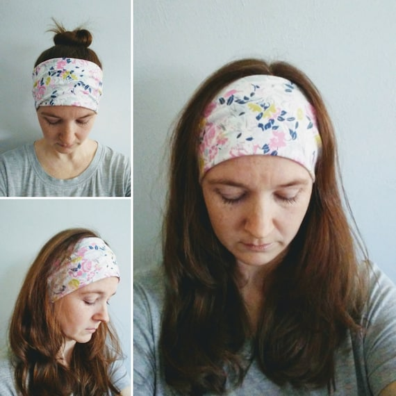 Flower Print Headband, pastel pink headband, cream cotton hairband, boho floral headband, women's hair accessory, gift for her