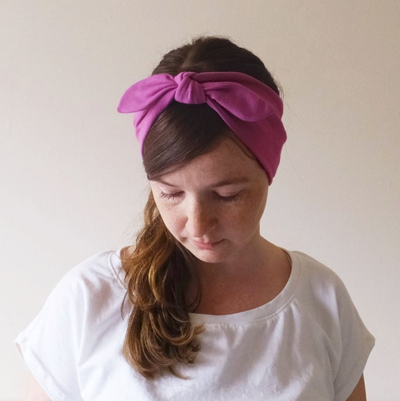 Yoga Headband Choose a color Headband Cotton hair accessory pink retro bow style workout headband jogging accessory boho gift - One Headband