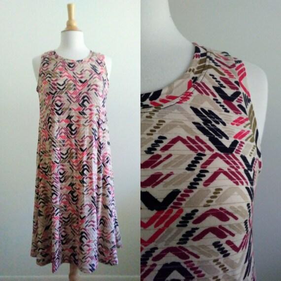 Beige Chevron Swing Dress Sleeveless summer tank dress soft loose fit jersey knit modest shift dress knee length - Made to Order