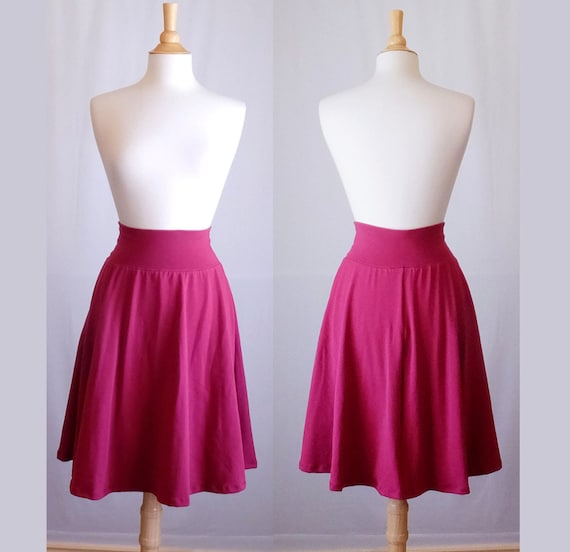 Market Skirt Full Aline Semi Circle Skirt Womens stretch Cotton Jersey Swing Skirt knee length twirl skirt custom made to order