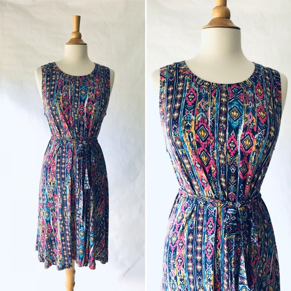 Blue Swing Dress, pink and yellow print, sleeveless tank dress, beach coverup dress, summer knee length, loose fit and flare - Made to Order
