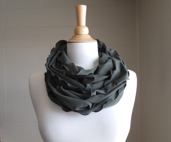 Green Scarf Infinity Scarf Olive Green Cotton jersey ruffle circle cowl - ready to ship