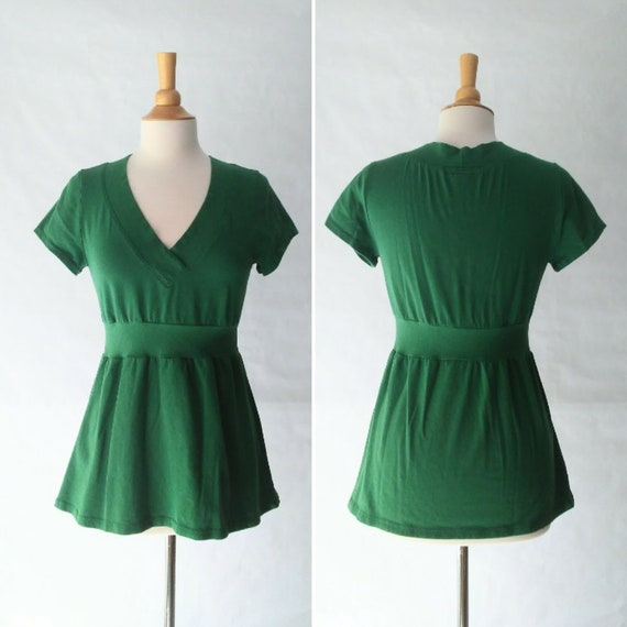 Emerald green Womens Cotton Vneck Shirt Empire Waist Blouse Short Sleeve tshirt fit and flare peplum  - Made to Order