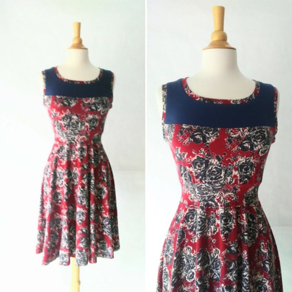 Size LARGE Burgundy Floral Dress with navy Yoke blue dress red dress woman's Cotton dress sleeveless dress Fit and flare party dress