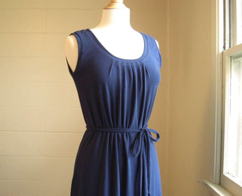 04898157c7 Navy Blue Cotton Maxi tank Dress Womens Long Maxi sleeveless