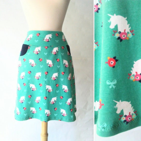 Size MEDIUM Aqua Unicorn Floral Aline Skirt women's Cotton skirt jersey Knit Pull on style knee length Skirt with Pockets - ready to ship