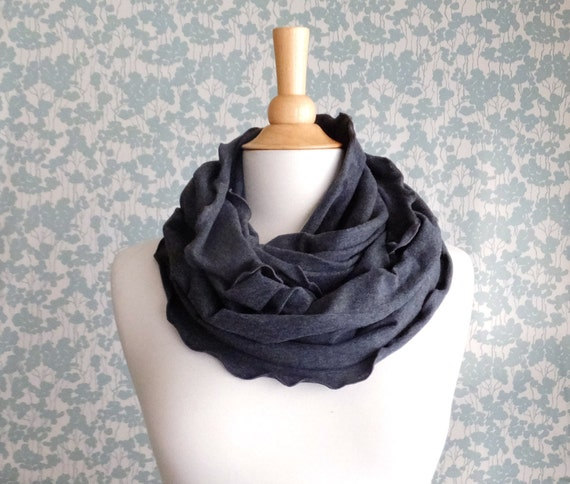 Infinity Scarf charcoal grey cotton jersey circle scarf cowl ruffle scarf fashion accessory winter accessories holiday gift christmas