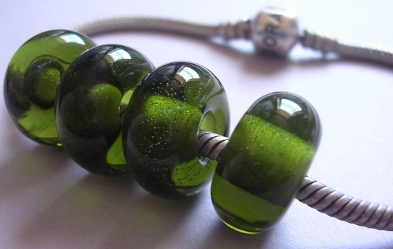 Lampwork Beads Green Handmade Glass Ericabeads Dark Olive Green BHB European Charm Beads 4