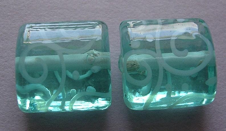 2 Handmade Glass Aqua Blue Green Lampwork Beads Ericabeads Pale Aqua Nuggets