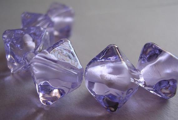 6 Lampwork Beads Purple Glass Handmade Ericabeads Purple Blue Spacers