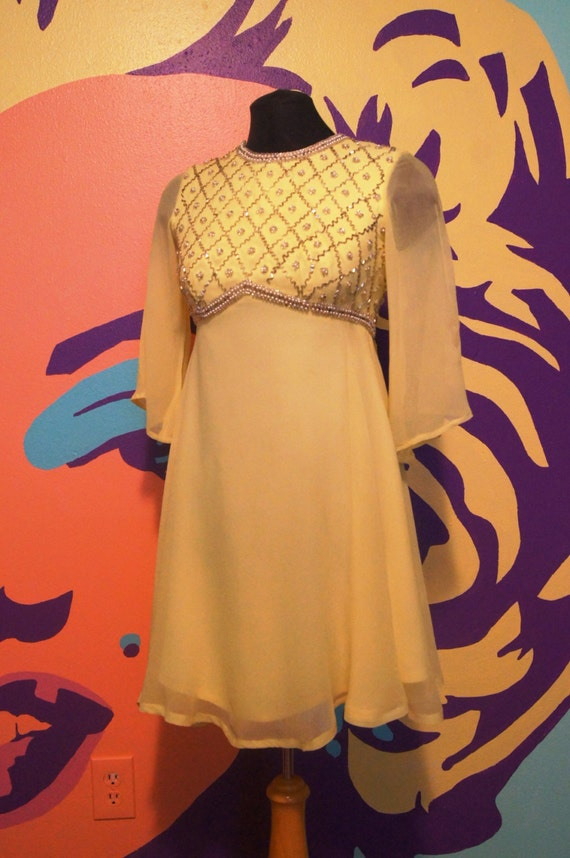 Butter Yellow Vintage 60s Formal Dress