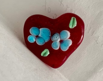Ruby Heart with Blue Flowers Lampwork Glass Bead
