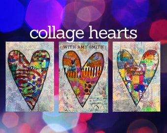 Mixed Media Collage Hearts e-course with Amy Smith