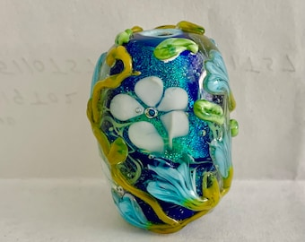 Large Floral Dichroic Layered Focal Lampwork Glass Bead