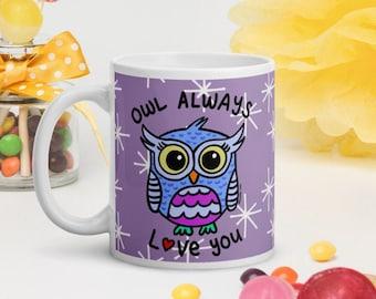 Owl Always Love You - Cute Purple Ceramic Coffee Glossy Mug - Design by Jelene