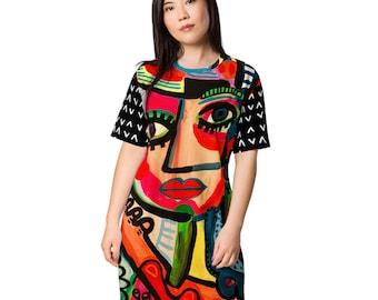 Funky Pop Art Abstract Face Original Art by Jelene T-shirt Dress