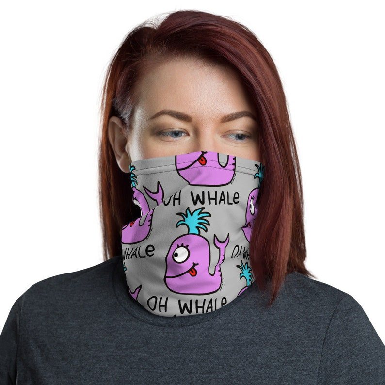 Oh Whale Design by Jelene  Face Mask Neck Covering Face image 0