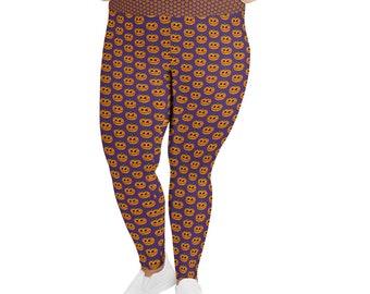 Halloween Pumpkin Design Soft Poly Spandex Blend Women's Plus Size Leggings by Jelene