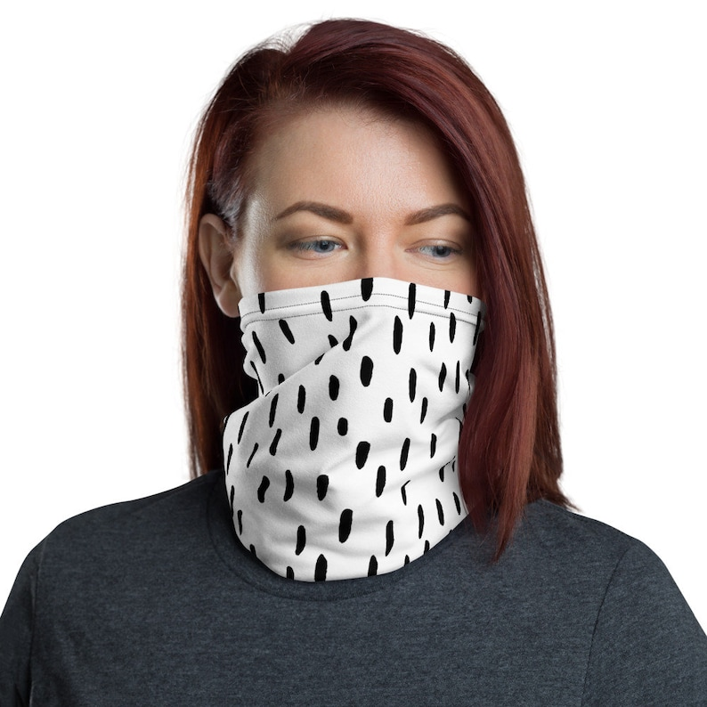 Modern Design Black and White Basic Face Covering Face Mask image 0