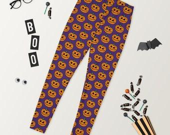 Halloween Pumpkin Design Soft Poly Spandex Blend Women's Leggings by Jelene - S-XL
