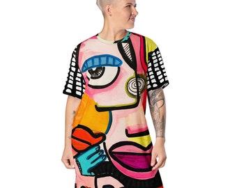 Rad Colorful Pop Art Face Original Artwork by Jelene T-shirt Dress