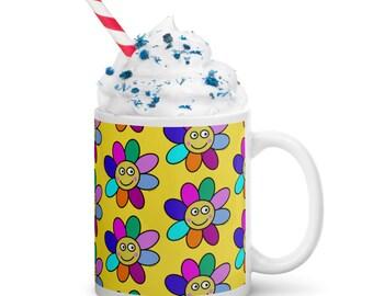Happy Flower Design by Jelene - Colorful Coffee Ceramic Mug