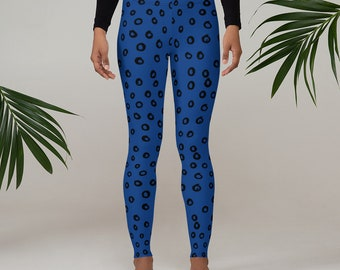 Navy Blue with black abstract circles Funky Leggings for Women
