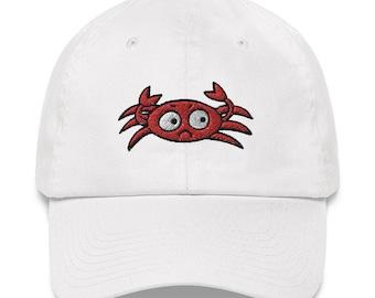 I'm Crabby Crab Embroidery Funny Dad Adjustable Hat - Original Design by Jelene - Pink, White, Blue, Khaki