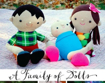 Family of Dolls Ebook 3-Patterns-in-1 * Emma, Liam, and Baby Perry *  plus 2 bonus tutorials!